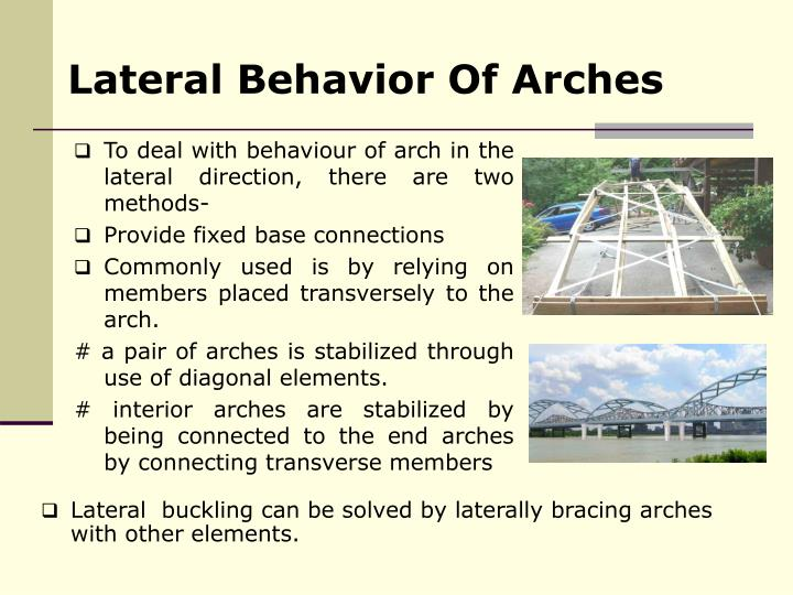 Lateral Behavior Of Arches