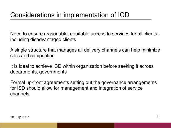 Considerations in implementation of ICD