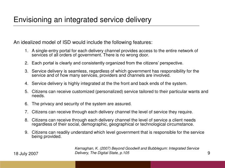 Envisioning an integrated service delivery