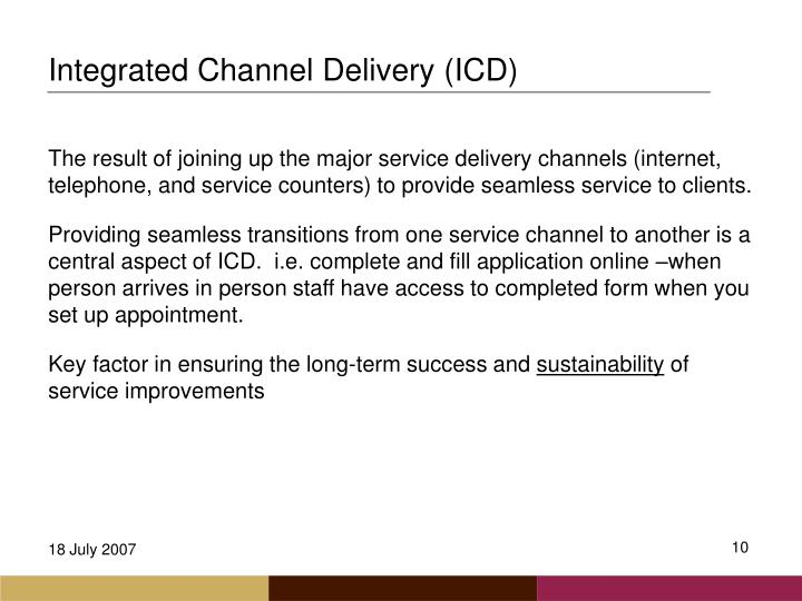 Integrated Channel Delivery (ICD)