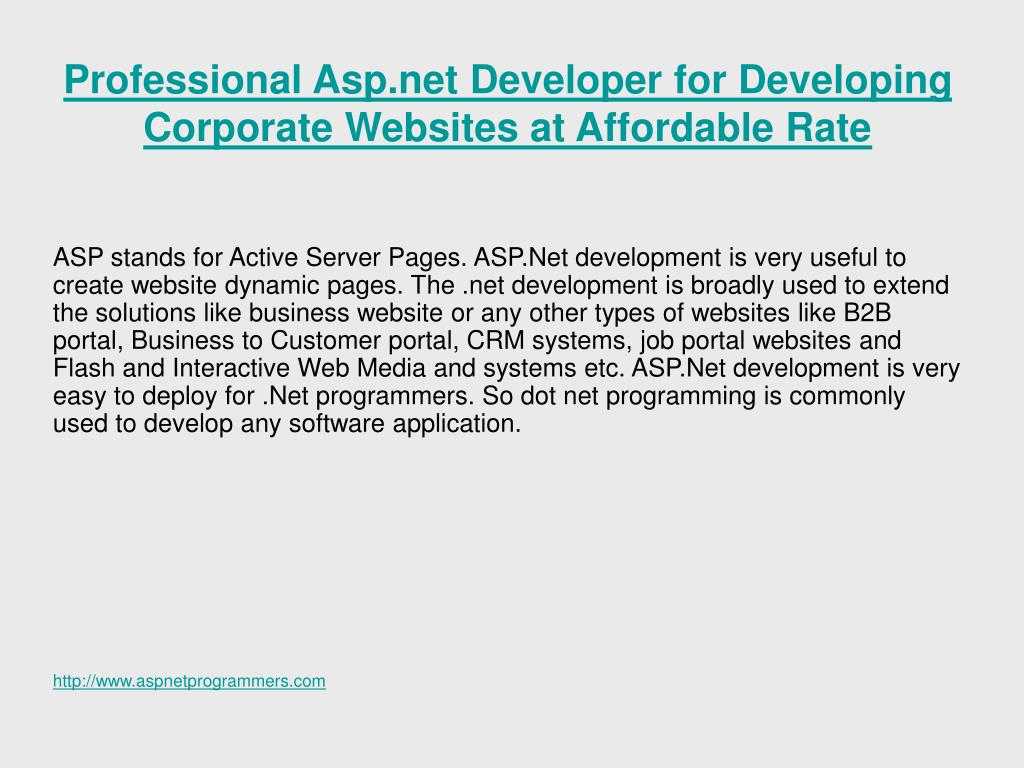 Professional Asp.net Developer for Developing Corporate Websites at Affordable Rate