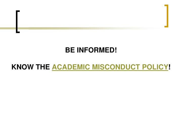 Be informed!