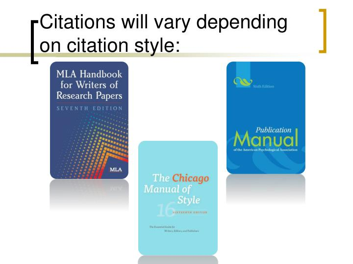 Citations will vary depending on citation style: