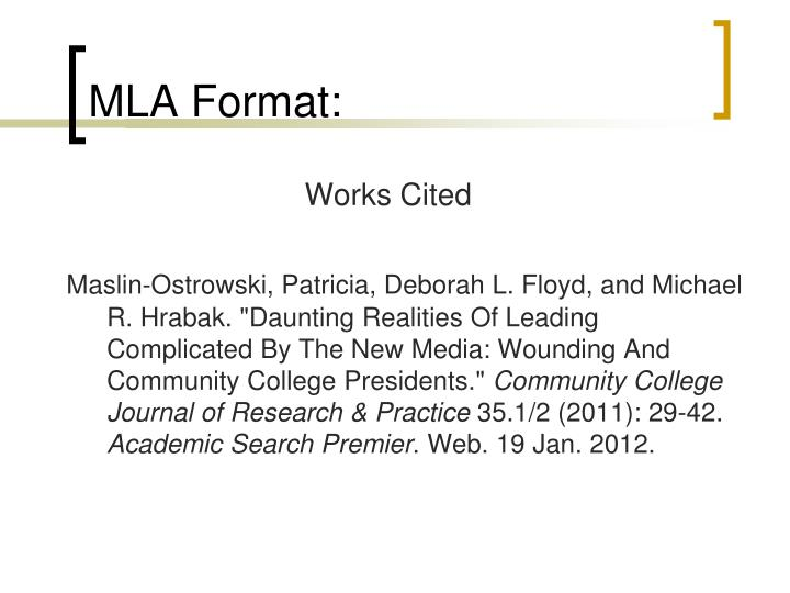 MLA Format: