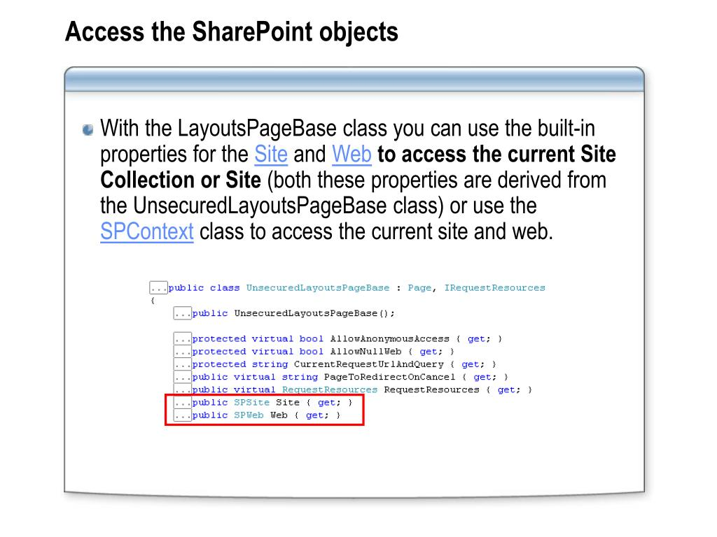 Access the SharePoint objects