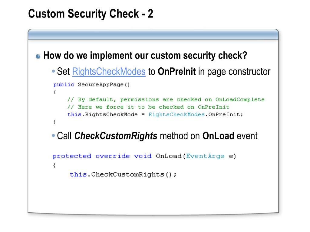 Custom Security Check - 2
