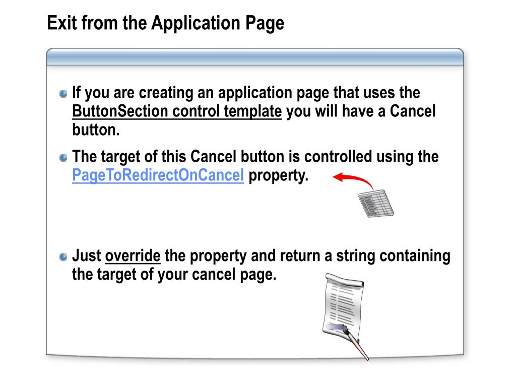 Exit from the Application Page