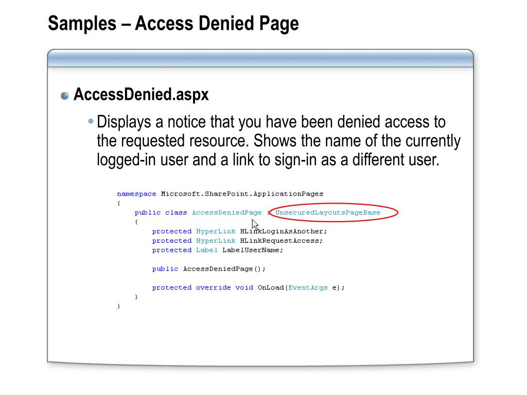 Samples – Access Denied Page