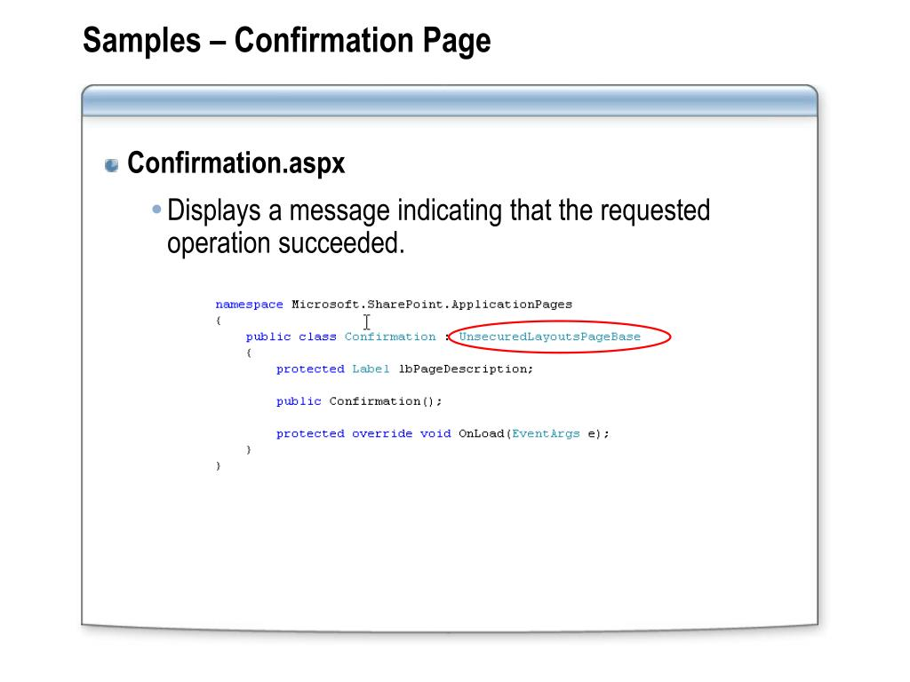 Samples – Confirmation Page