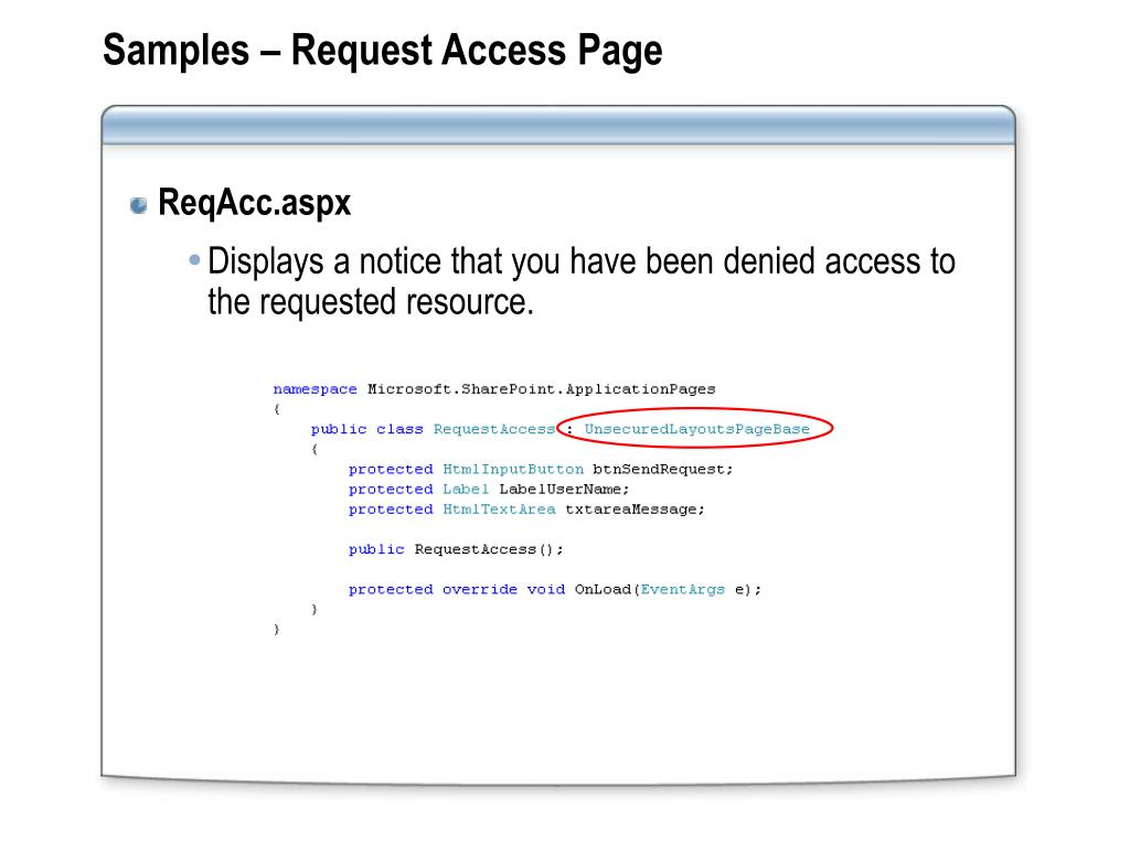 Samples – Request Access Page
