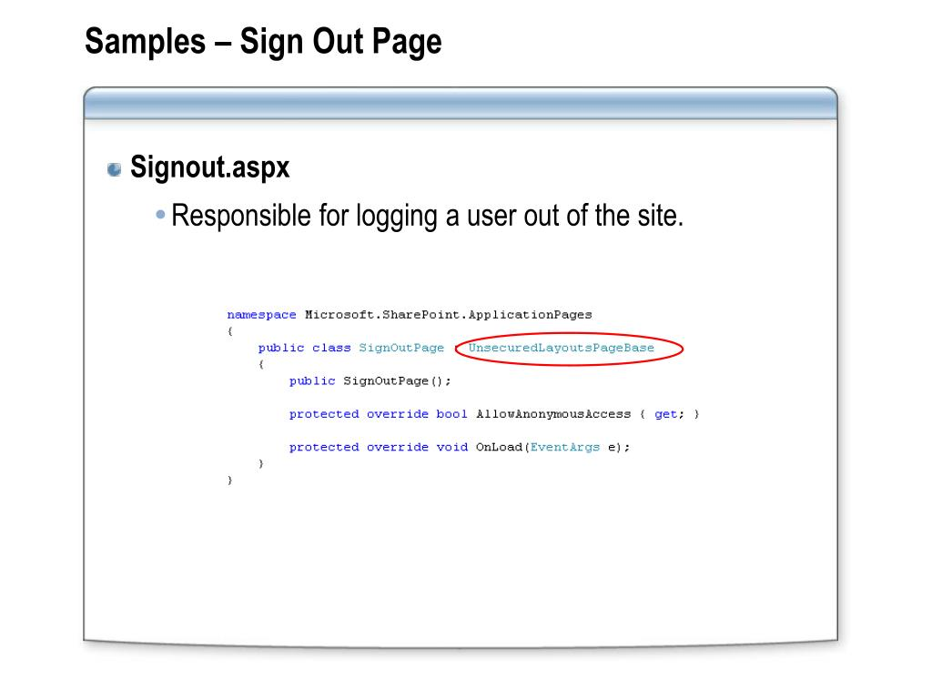 Samples – Sign Out Page
