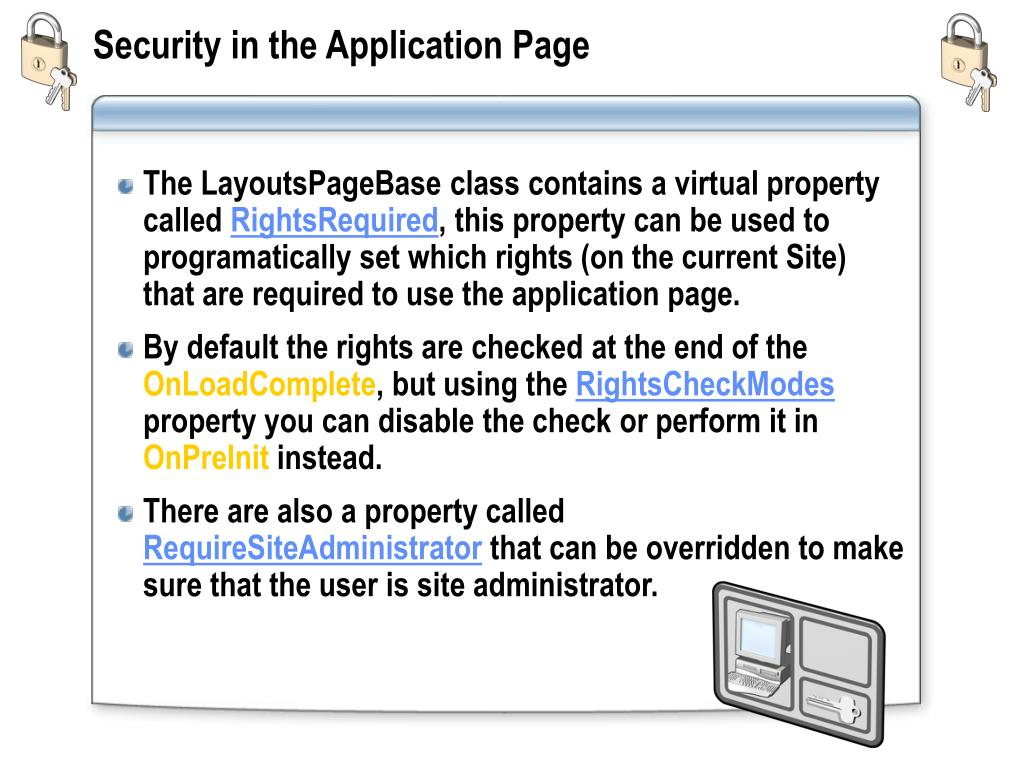 Security in the Application Page