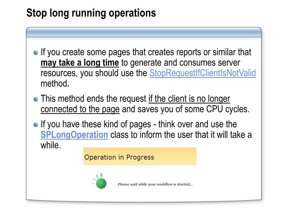 Stop long running operations