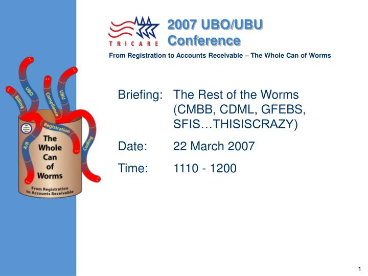 Briefing the rest of the worms cmbb cdml gfebs sfis thisiscrazy date 22 march 2007 time 1110 1200