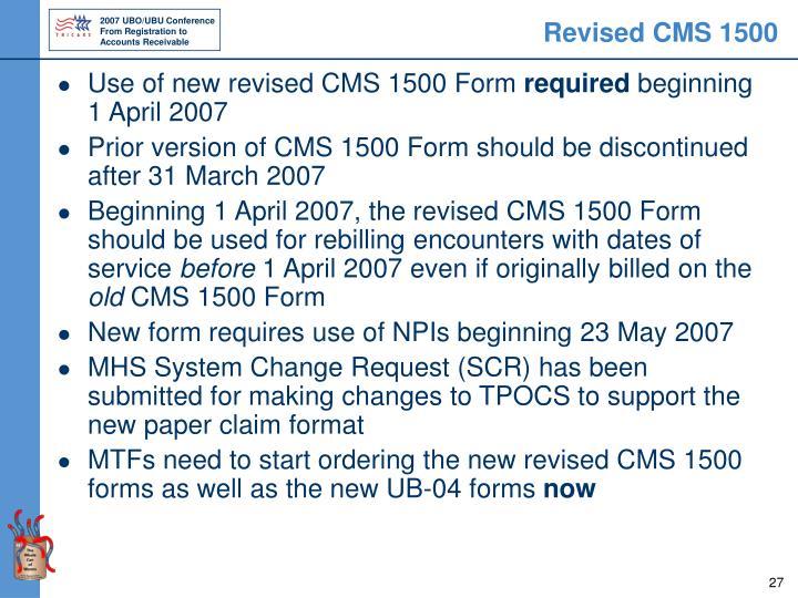 Revised CMS 1500