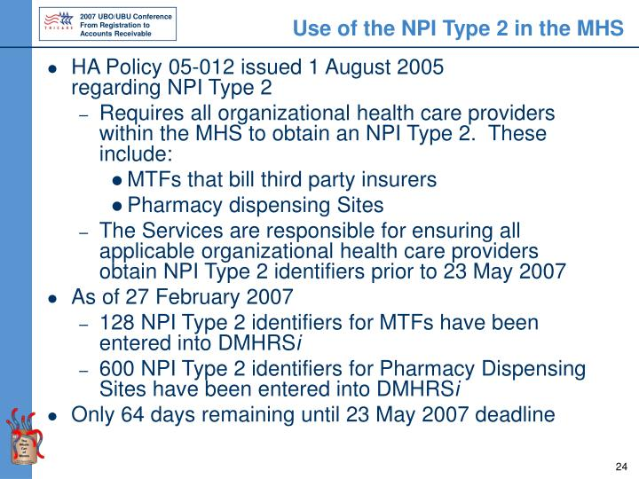 Use of the NPI Type 2 in the MHS