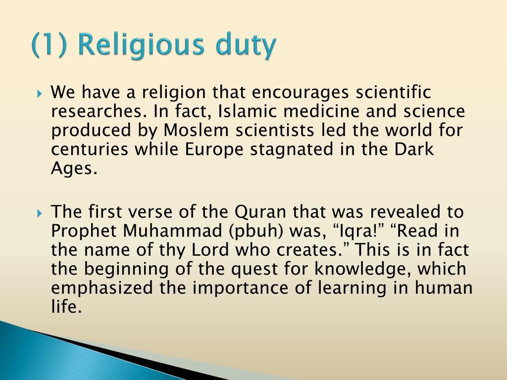 (1) Religious duty
