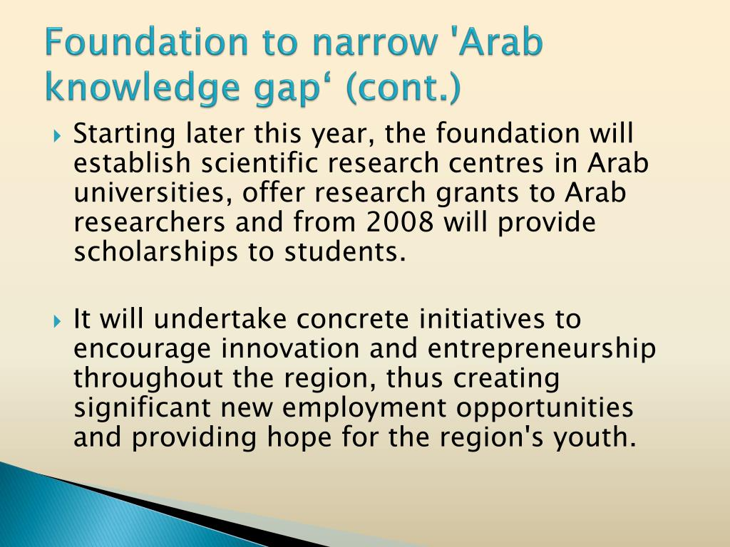 Foundation to narrow 'Arab knowledge gap' (cont.)