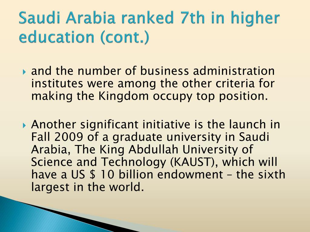 Saudi Arabia ranked 7th in higher education (cont.)