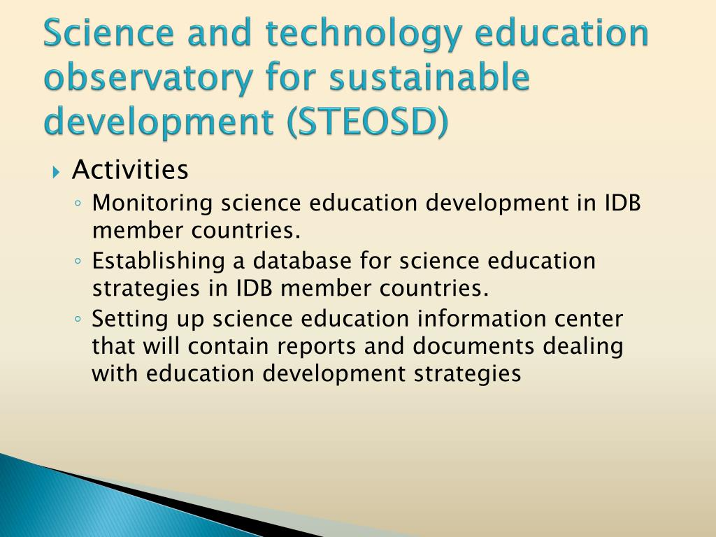 Science and technology education observatory for sustainable development (STEOSD)