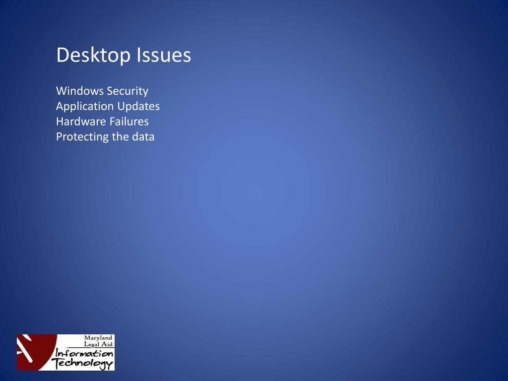 Desktop Issues