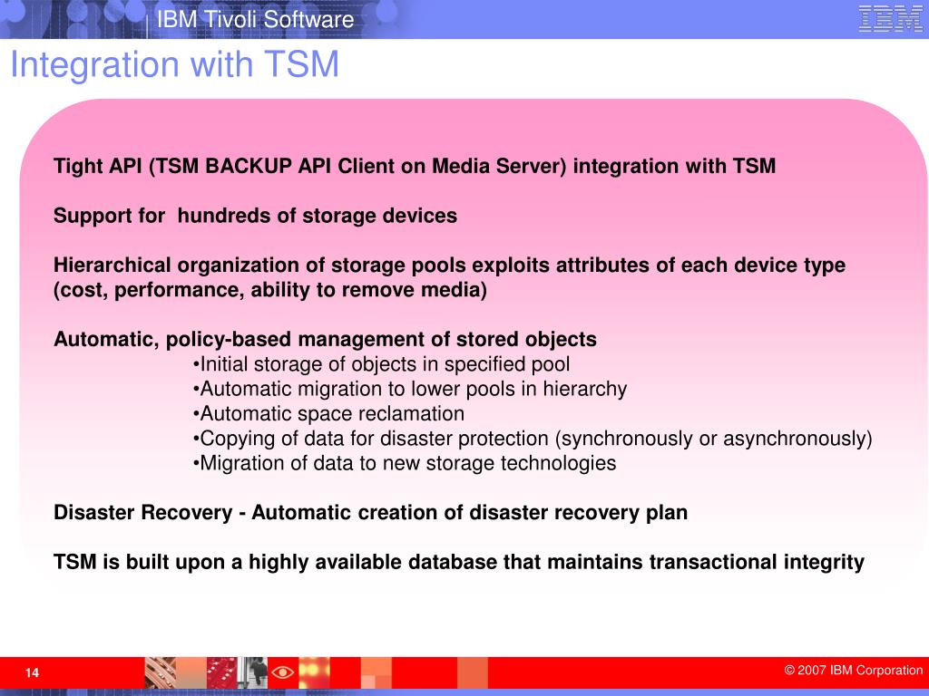 Integration with TSM