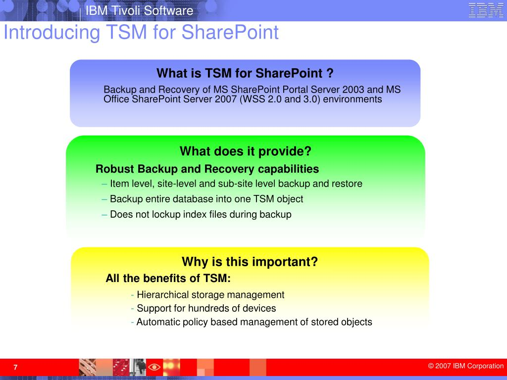 Introducing TSM for SharePoint