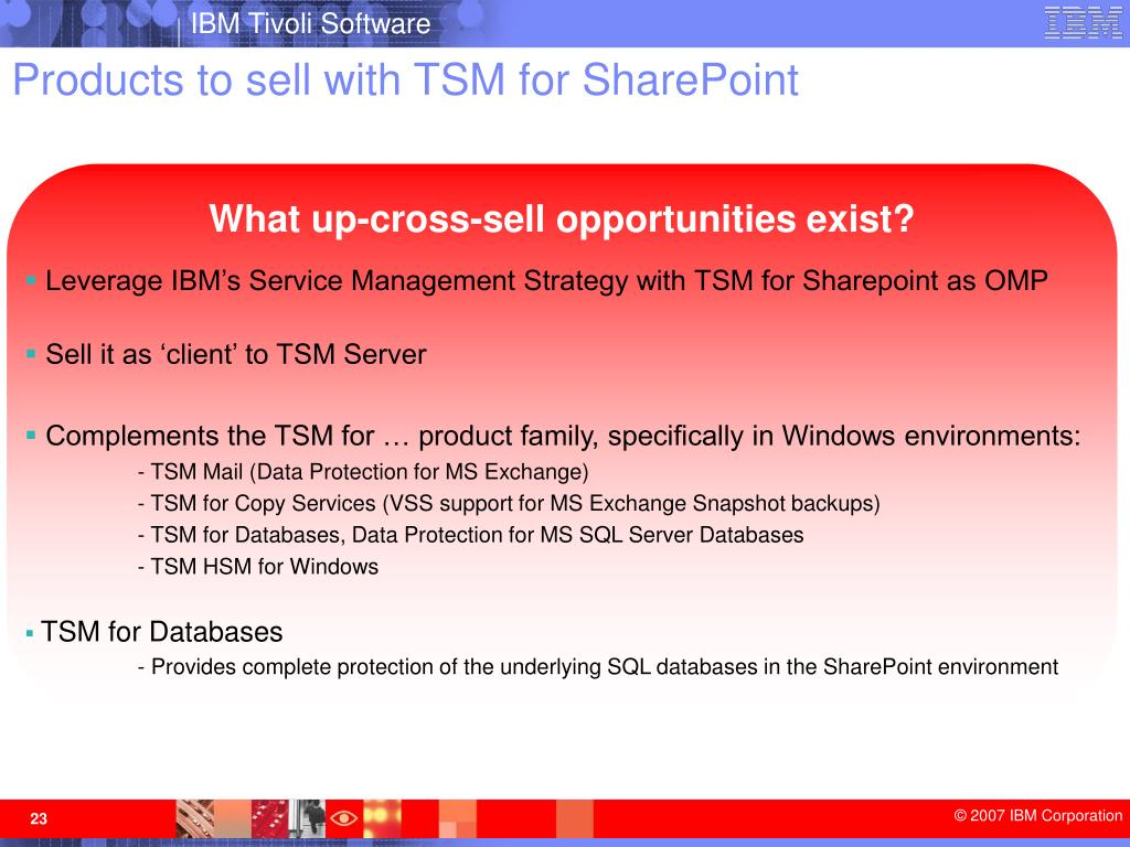 Products to sell with TSM for SharePoint