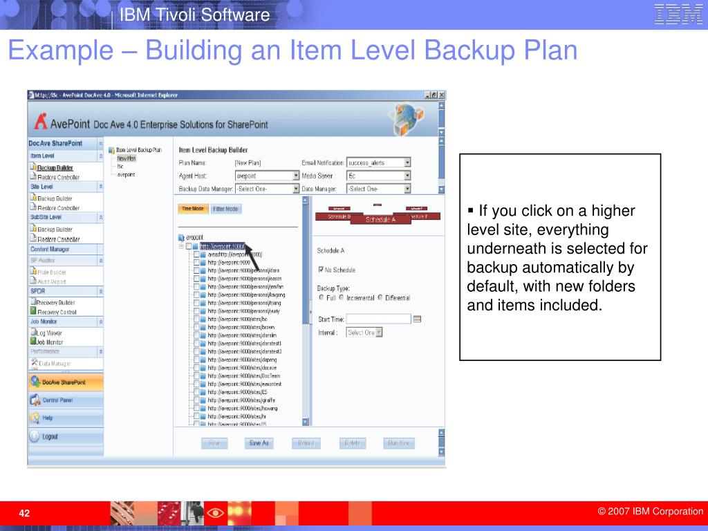 Example – Building an Item Level Backup Plan
