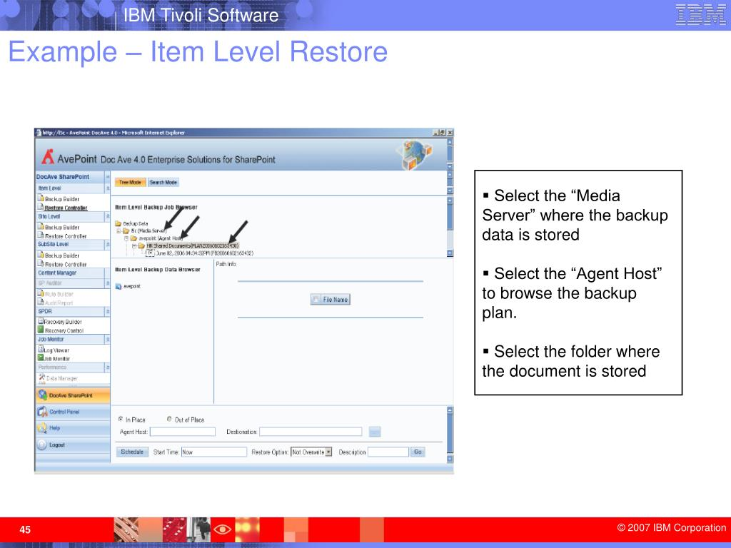 Example – Item Level Restore