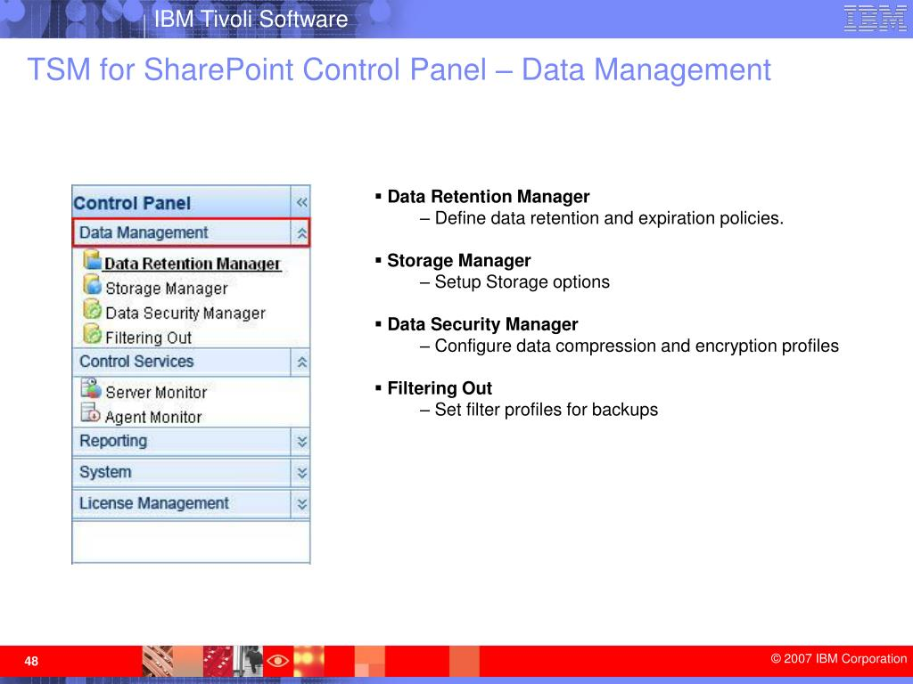 TSM for SharePoint Control Panel – Data Management