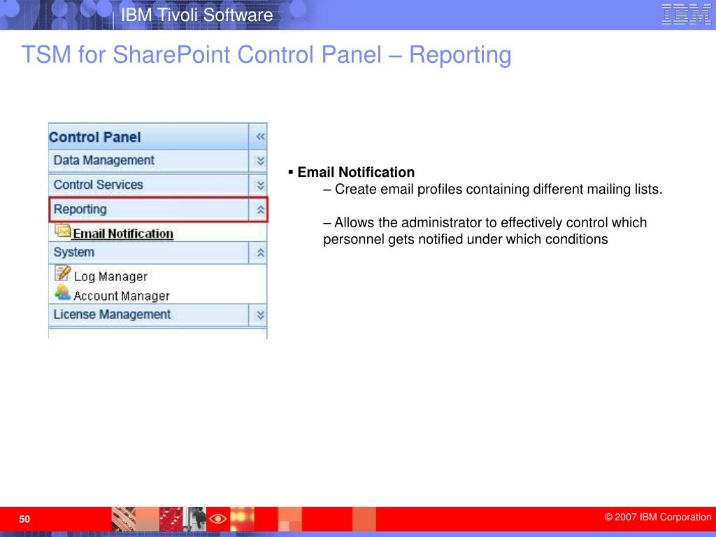 TSM for SharePoint Control Panel – Reporting