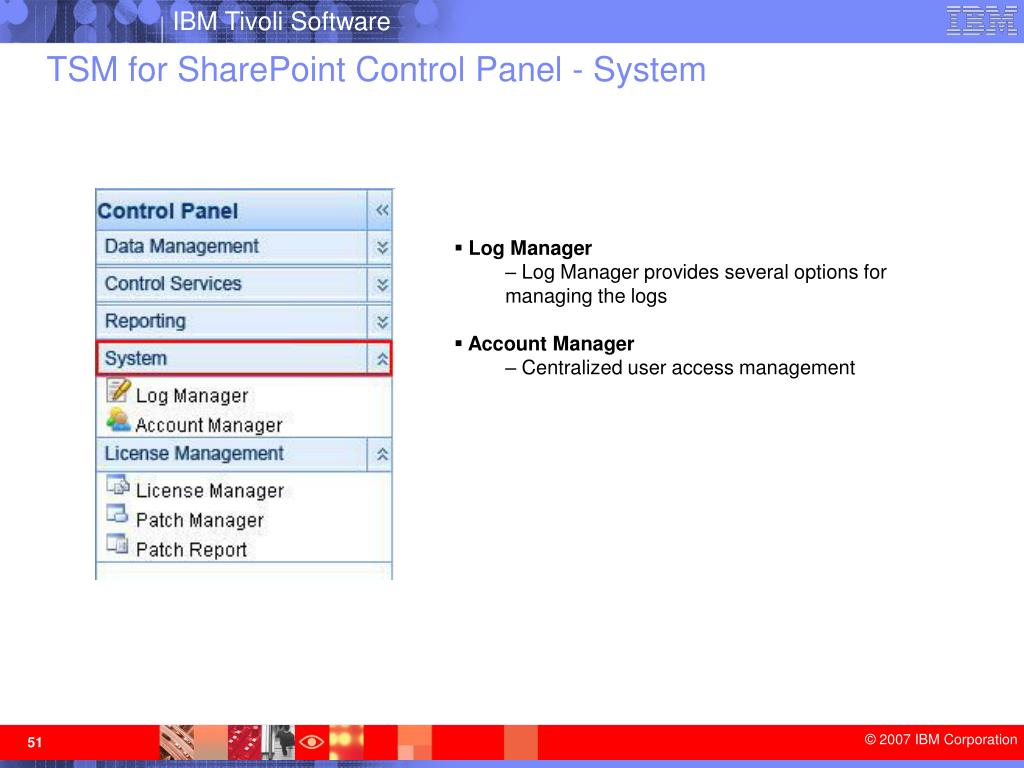 TSM for SharePoint Control Panel - System