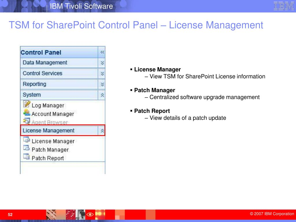 TSM for SharePoint Control Panel – License Management