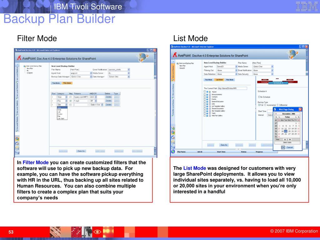 Backup Plan Builder