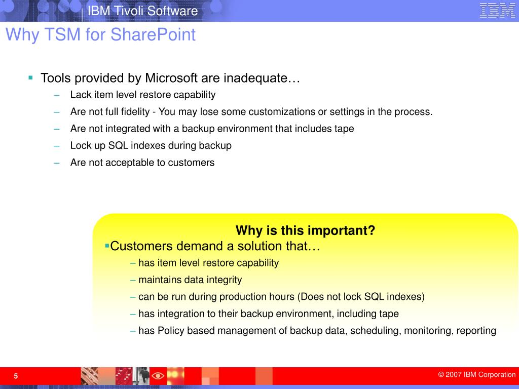 Why TSM for SharePoint