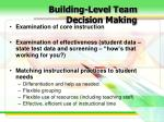 building level team decision making