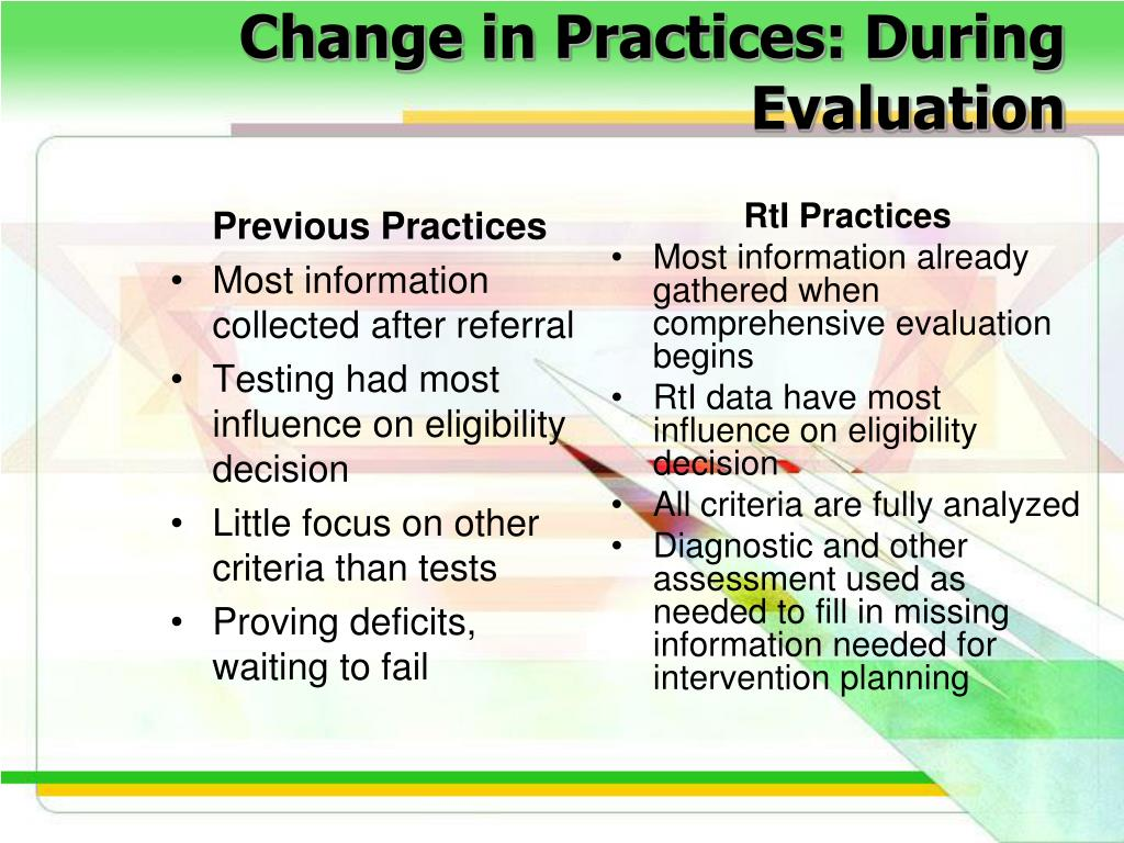 Change in Practices: During Evaluation