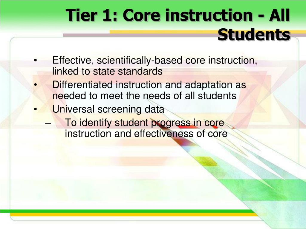 Tier 1: Core instruction - All Students