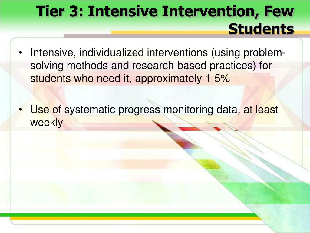 Tier 3: Intensive Intervention, Few Students