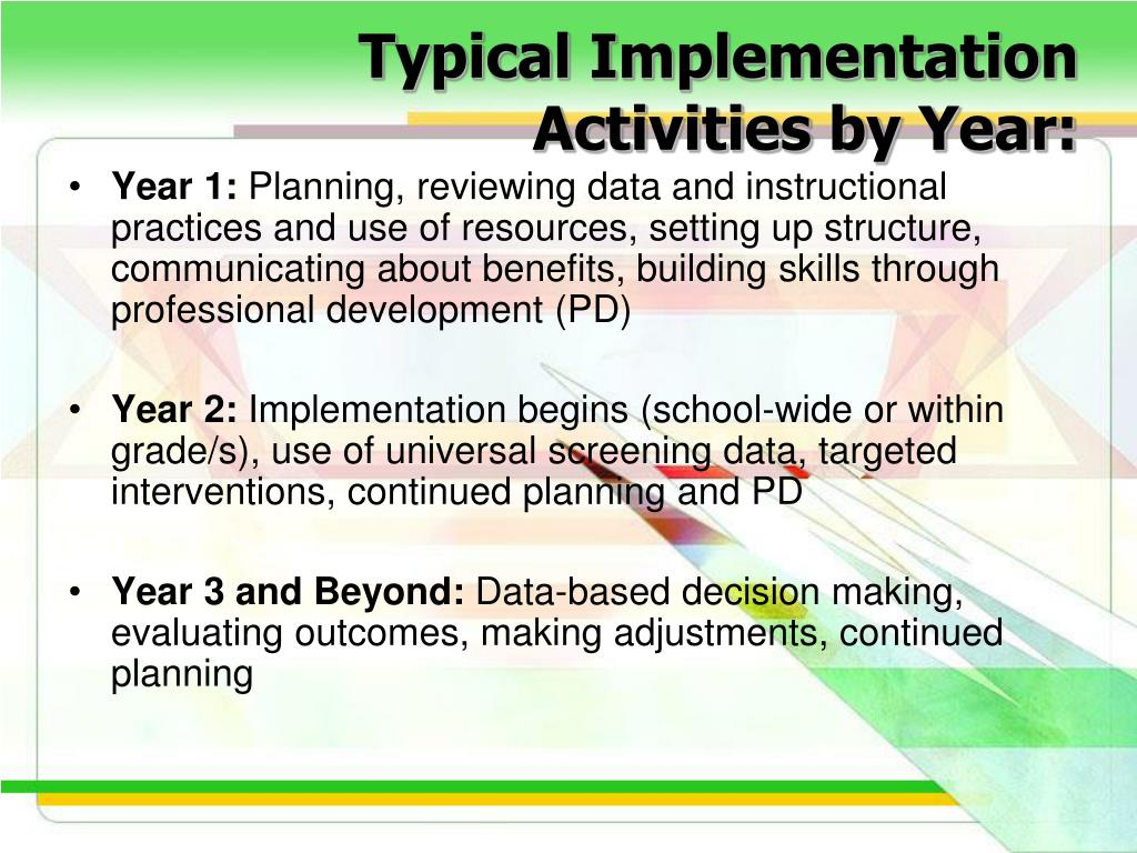 Typical Implementation Activities by Year: