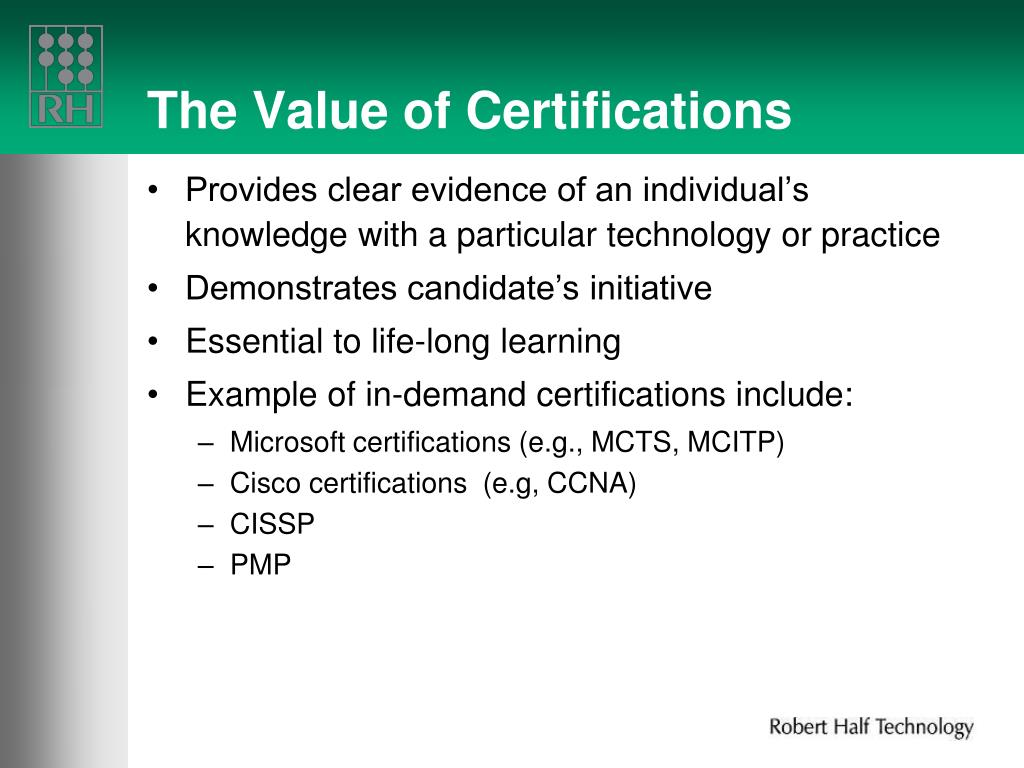 The Value of Certifications