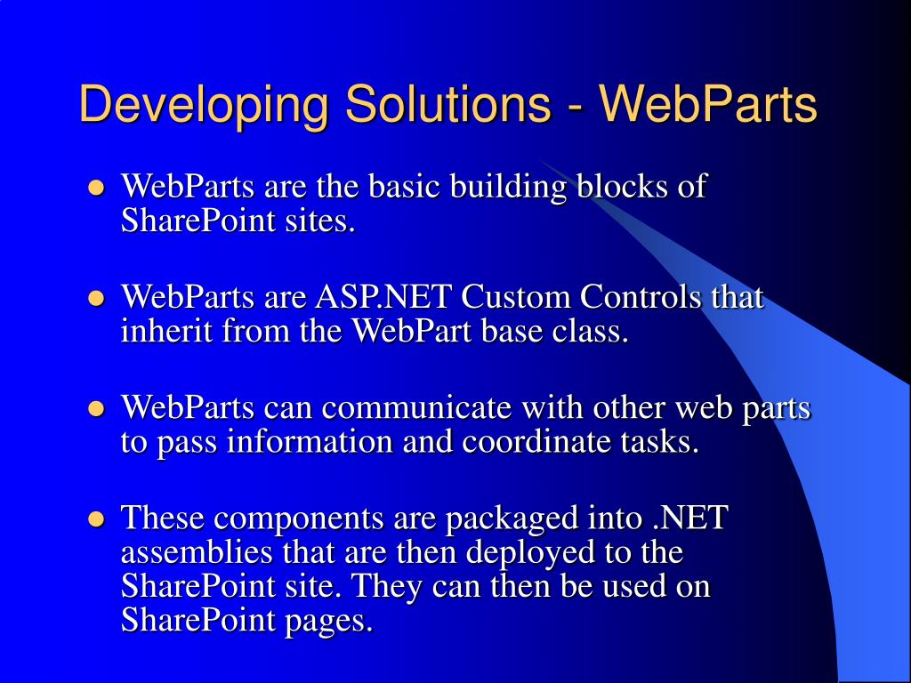 Developing Solutions - WebParts