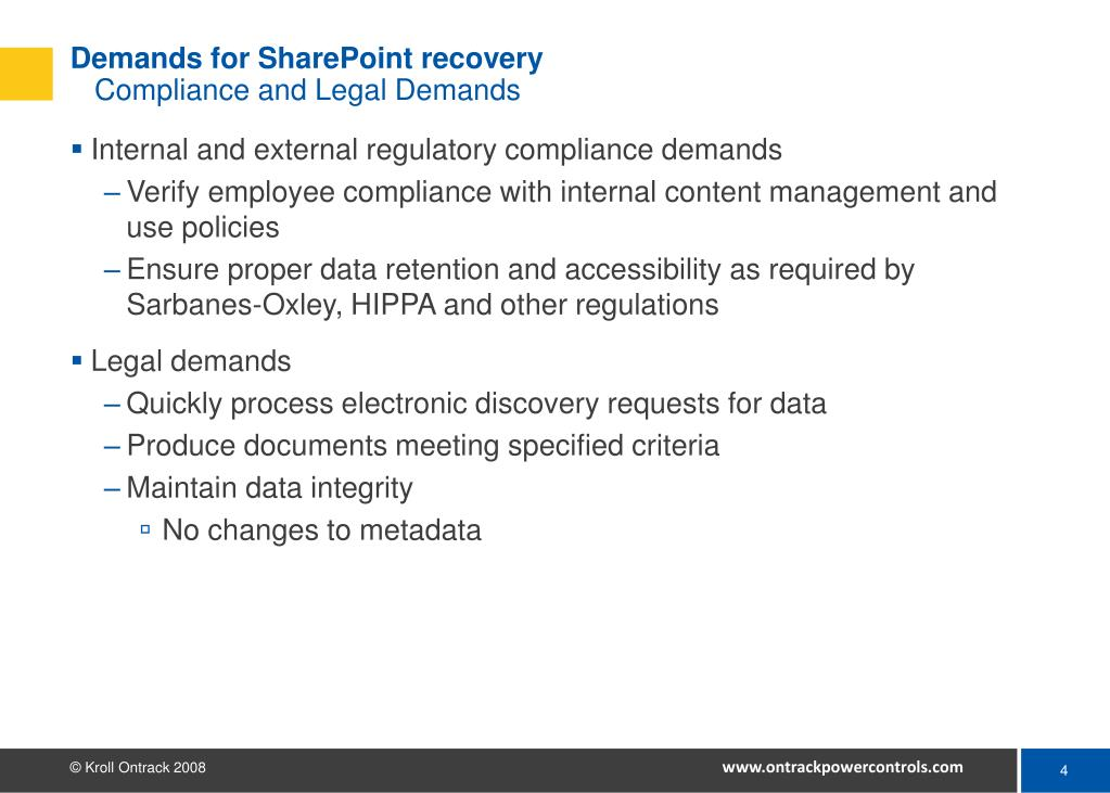Demands for SharePoint recovery