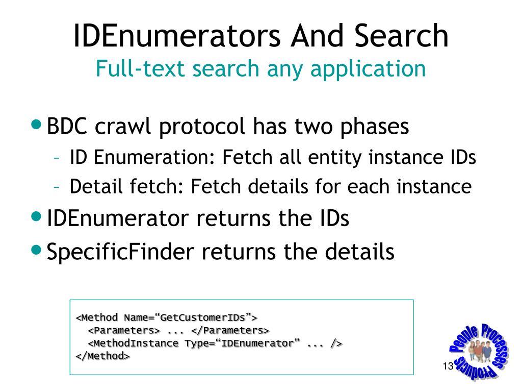 IDEnumerators And Search