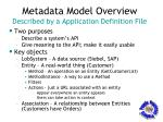 metadata model overview described by a application definition file