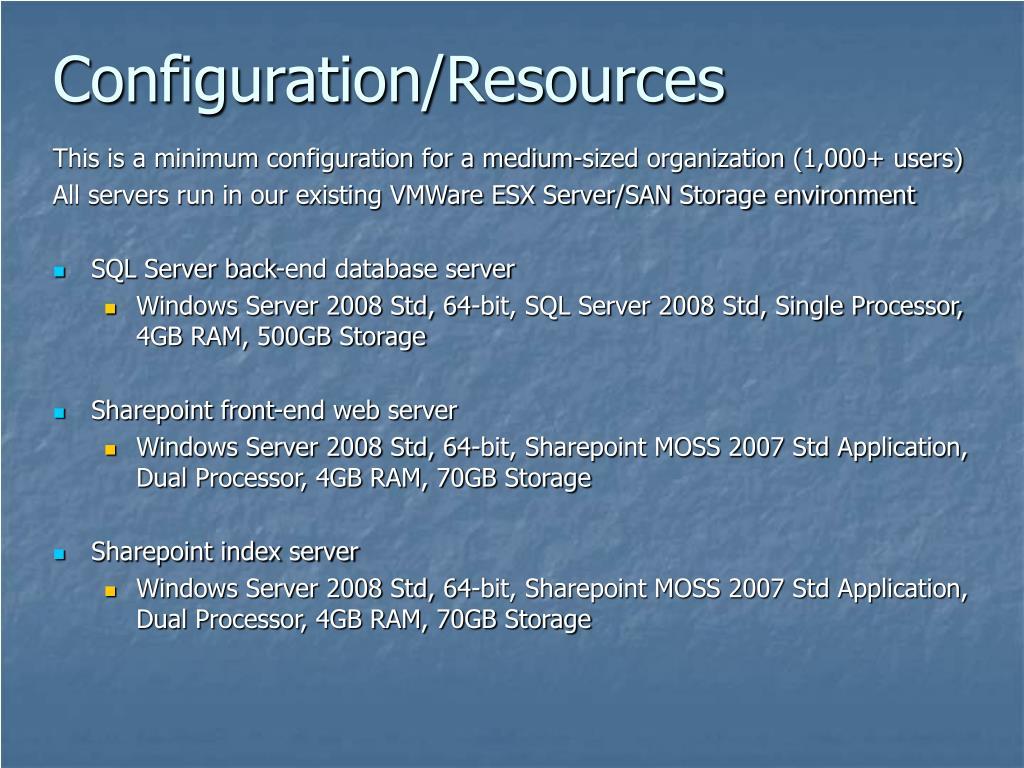 Configuration/Resources