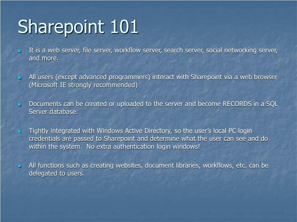 Sharepoint 101
