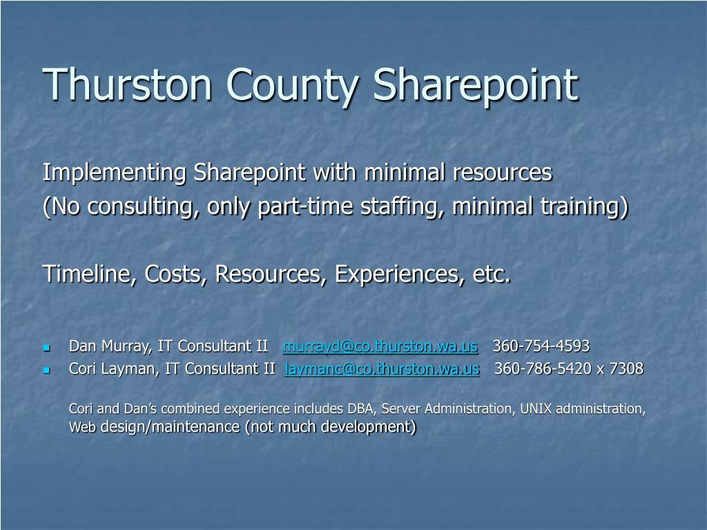 Thurston County Sharepoint