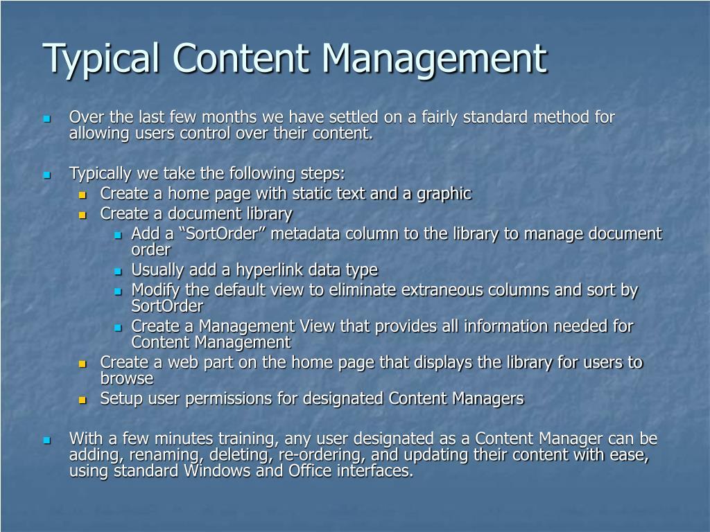 Typical Content Management